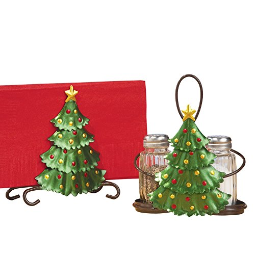 Collections Etc Christmas Tree Salt & Pepper, Napkin Holder Set -