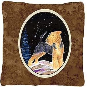 Noche estrellada Welsh Terrier decorativo tela almohada