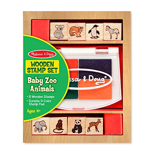 Doug Set Animal Stamp - Melissa & Doug Baby Zoo Animals Wooden Stamp Set: 8 Stamps and 4-Color Stamp Pad