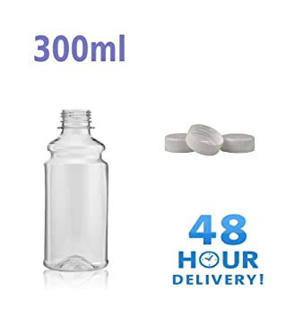 Clear PET Plastic Bottles with White Screw Caps Drinks Bottles Home