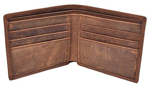 woogwin Men's Wallet RFID Vintage Genuine Leather Slim Bifold Wallet Handmade (Brown Style1)