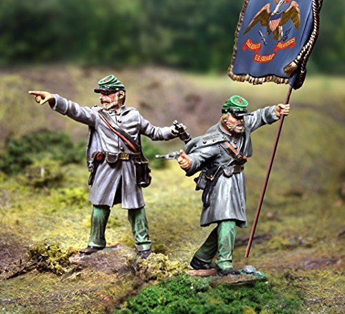 Civil War Toy Soldiers Union Berdan's Sharpshooters Infantry, Officer and Flagbearer 2-Piece Set Collectors Showcase Toy Soldiers Painted Metal Figure 54mm-56mm CS00786 Britains King Country (Toy Soldiers Infantry Set)