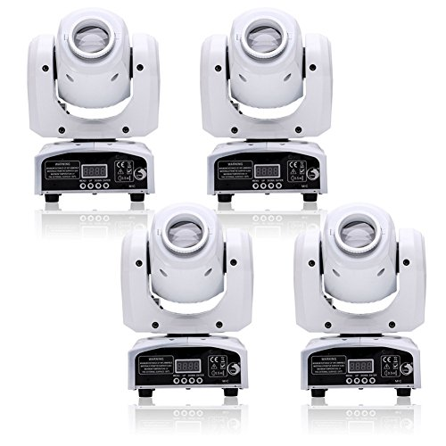 U`King 4pcs One Set Stage Lights, Portable LED Spot Moving Head Light 25W RGBW 4 Color with 4 Control Mode for Party Disco DJ Show DMX-512