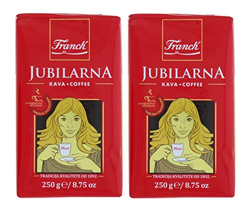 Franck Jubilarna Fine Ground Kava Coffee - Blend of Arabica & Robusta Beans w/Rich Bold Balanced Flavor - Great for Turkish Style Coffee, 250g/8.75oz (2 Pack)
