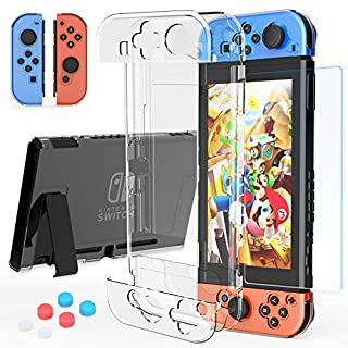 HEYSTOP Nintendo Switch Case Dockable, Clear Protective Case Cover for Nintendo Switch and Joy-Con Controller with a Switch Tempered Glass Screen Protector and Thumb Stick Caps
