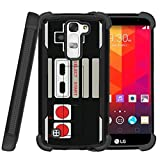 Miniturtle | LG K7 | LG Tribute 5| LG Treasure case[Shockwave Armor] High Impact Two Layer Case with Kickstand + Tempered Glass- Game Controller