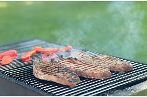 Griglia per barbecue 54 x34 cm acciaio inossidabile con 2 maniglie in legno bbq