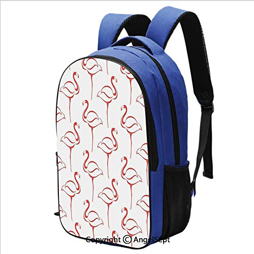 School Backpack Flamingo Shape Outline Big Birds Caribbean Artful Illustration Perfect All-Around Bag for a Day on Campus or for Travel,Pink and White (Caribbean Massager)