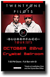 "Twenty One Pilots Poster - 11 x 17 Promo for the ""Blurryface"" Tour -- Crystal"