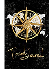 Travel Journal: Small Black Travel Diary 5'' x 8'' (12.5 x 20 cm), Golden Compass, Traveler's Notebook, Soft Cover