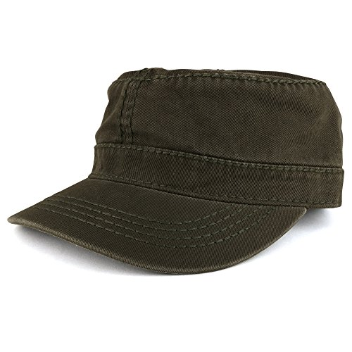 Heavy Garment Washed Cotton Cap (Garment Washed Cotton Twill With Heavy Stitching Flat Top Military Cap - OLIVE)