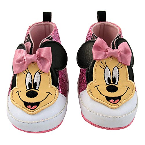 Disney Baby Girls Minnie Mouse Infant Shoes, Pink Glitter Minnie Mouse High/Top Velcro Sneakers, 6-9 Months -