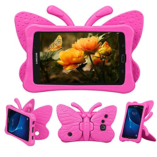 Tading Kids Case for Samsung Galaxy Tab A 7.0, Children Friendly Lightweight and Shockproof EVA Foam Full Protection Stand Cover for SM T280 T285 (Not Fit SM Tab A10.1/9.7/8.0) - Cute Butterfly/Rose (Samsung Galaxy Tab 3 Lite 7-0 Case)