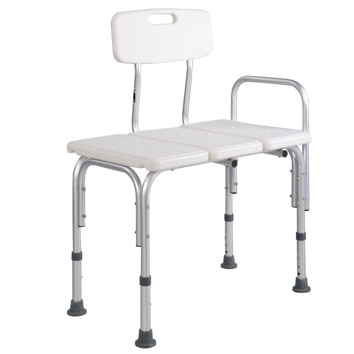 Bath Bench, WATERJOY 5 Height Adjustable Medical Bath Seat Stool Shower Chair with Back and Armrest, Bathroom Bath Tub Transfer Bench
