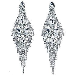 Teardrop & Tassels Tassels Earring With Sparkling Rhinestone