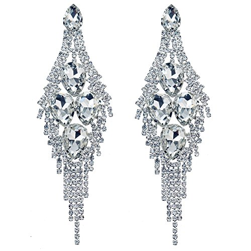CHRAN Silver Teardrop Crystal Long Tassels Dangle Earrings Sparkling Rhinestone Ladies Gifts