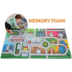 "Milliard Car Rug Road Play Mat - Jumbo: 39 x 79"" Luxurious Memory Foam, 'My City' Large Activity Floor Carpet Toy Cars Trucks, Giant"
