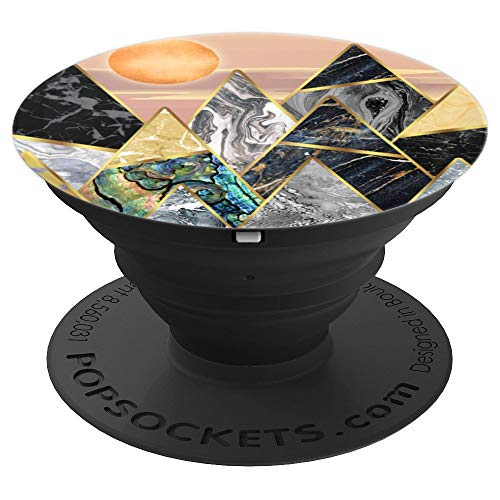Geometry Marble Triangle Mountain Hills - Golden Sunrise - PopSockets Grip and Stand for Phones and Tablets ()