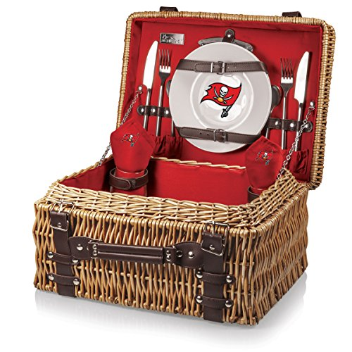 NFL Tampa Bay Buccaneers Champion Picnic Basket with Deluxe Service for Two, Red by PICNIC TIME