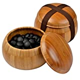 """Etched Bamboo Go Board (0.8"""" ) w/ Double Convex Yunzi Stones (Size 33) and Bamboo Bowls Set"""