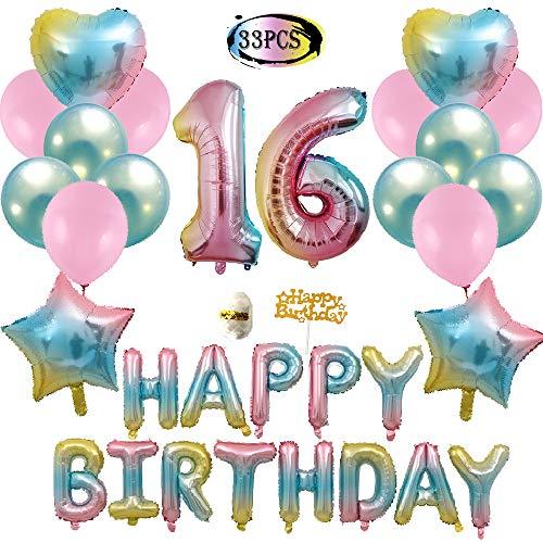 16th Birthday Decorations, Gradient Happy Birthday Foil Balloons, Rainbow Star & Heart Balloons, Pink and Blue Latex Balloons, Birthday Party Balloons]()