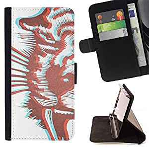 Jordan Colourful Shop - tiger art white brown For Apple Iphone 5 / 5S - Leather Case Absorci???¡¯???€????€??????????