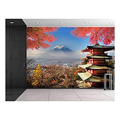 Japanese Shrine on a Garden Looking Over Mount Fuji - Wall Mural, Removable Sticker, Home Decor - 66x96 inches