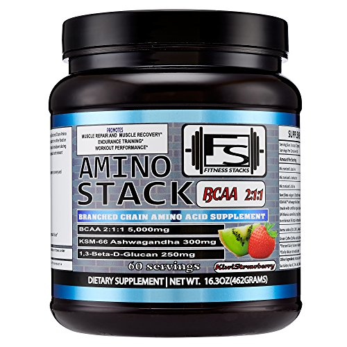 Amino-Stack- 60 Servings - BCAA 2:1:1 - Ashwagandha - Beta-1,3D Glucan 20% - Green Coffee Bean Extract - Kiwi Strawberry