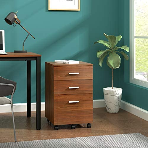 DEVAISE 3 Drawer Mobile File Cabinet, Wood Filing Cabinet for Letter Size, Walnut