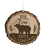 LifeSong Milestones Personalized Baby's First Christmas Round Barky Ornament New Parent Gift Ideas for Newborn Boys and Girl Custom Engraved Ornament for mom dad and Grandparents