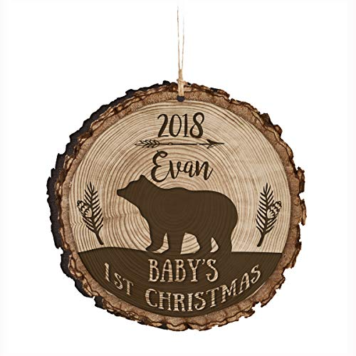 (LifeSong Milestones Personalized Baby's First Christmas Round Barky Ornament New Parent Gift Ideas for Newborn Boys and Girl Custom Engraved Ornament for mom dad and Grandparents)