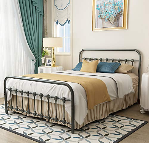 URODECOR Metal Bed Frame Queen Size Headboard and Footboard The Country Style Iron-Art Double Bed The Metal Structure,Gray Silver. (Vintage Bedframes)