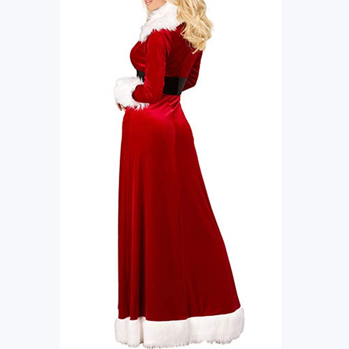278a011f43887 Amazon.com  Celendi-Christmas Women Underwear Nightdress Coat Sexy Long  V-Neck Fluffy Fur Belt Dress (XL