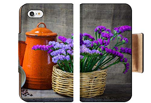 Luxlady Premium Apple iPhone 8 Flip Pu Wallet Case Image ID: 24077437 Red teapot Place on Wooden Table with Purple Flower in Wooden Basket