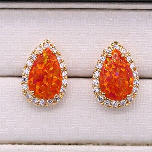 Engagement Earring Fashion Teardrop Opal CZ Women Stud Earring