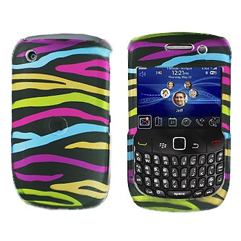 Black with Blue Pink Yellow Zebra Animal Pattern Snap on Hard Skin Faceplate Phone Shield Cover Case for Blackberry Curve 8520 8530 Curve 3G 9300/9330 - 8530 Curve Snap