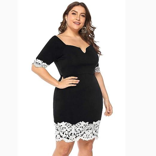 bd081591f274c Amazon.com: Women's Bodycon Dress, Plus Size Floral Lace Splice V ...
