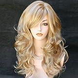 NEW Wonderful Long wavy Blonde mix skin top Curly Wig Hair 27613 UK