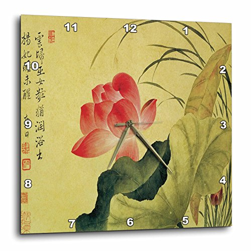 3 Lotus Flower by Yun Shouping Japanese Art Wall Clock