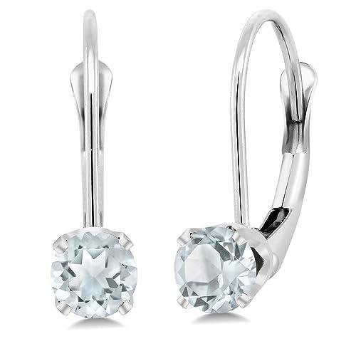 Gem Stone King 14K White Gold 0.44 Ct Round Sky Blue Aquamarine Leverback Earrings