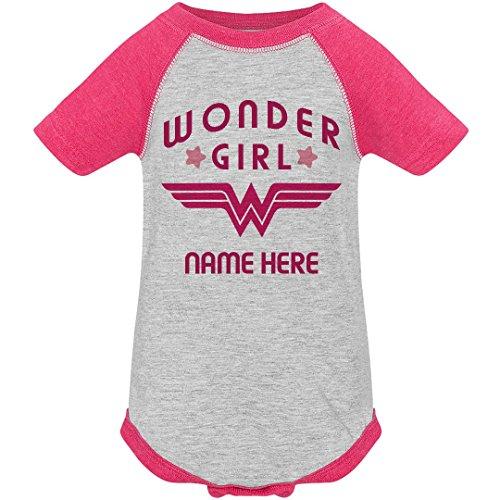 Custom Wonder Girl Raglan Onesie: Infant Vintage Raglan Bodysuit