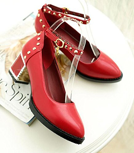 Ankle Sexy Womens Pumps Red CHFSO Buckle Chunky Toe Pendant Heel Solid Mid Rivet Strap Pointed fa8w8xd