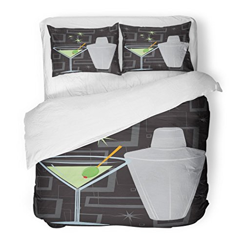 SanChic Duvet Cover Set Cocktail Retro Style Martini Shaker Over Groovy All Together Separately Fully Lounge Decorative Bedding Set Pillow Sham Twin Size