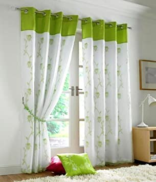 STUNNING BRIGHT LIME GREEN WHITE FULLY LINED RING TOP VOILE CURTAINS 56 X 90 Amazoncouk Kitchen Home