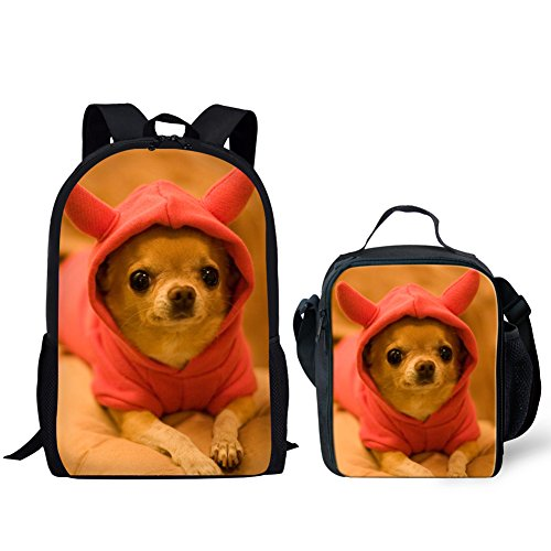 - HUGS IDEA Cut Puppy Kids Backpack Girls School Bag with Lucn Bag (Chihuahua Pattern)