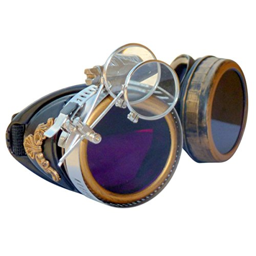 Steampunk GogGLes VicTORian Novelty Glasses cosplay Antique filigree S4 (Lila lens (Antique Novelty)