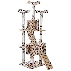 """Cat Tree House Furniture Condo, 66"""" Tall Pet Kitty Play Tower Scratching Post Kitten Toy Natural Sisal Rope Soft Plush Flakeboard for Small to Medium Sized Cats (Beige 2)"""