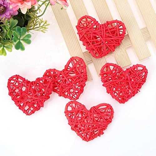 Whitelotous 5pcs Heart Shape Wicker Rattan Balls DIY Handmade Ornament Kids Sepak Takraw Parrot Toy Wedding Decor (Red) ()