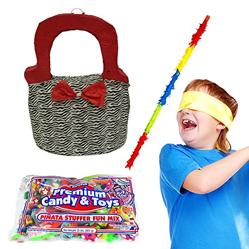 Pinatas Girls Zebra Print Purse Pinata Kit Including Pinata, Filler, Buster Stick and Bandana,  2 lb. (Purse Pinata)