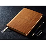 PU Leather Notebook, izBuy Retro Vintage Diary Memo Daily Use Gift for Men/women - 200 Lined Beige Pages, Elastic Band Wood Pattern Cover, Mediterranean Style, Brown, Gel Pen Included (60-25)
